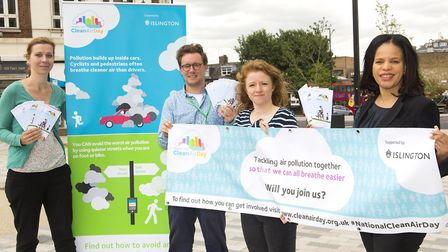 Islington Council, led by Cllr Claudia Webbe, marks the first 'clean air day' in Archway. Picture: S