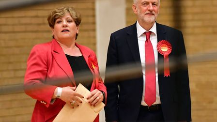 Labour leader Jeremy Corbyn and Emily Thornberry at Sobell Leisure Centre during the election count.