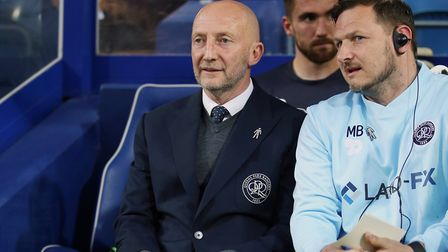 Queens Park Rangers manager Ian Holloway and coach Marc Bircham (right) (pic: Steven Paston/PA)