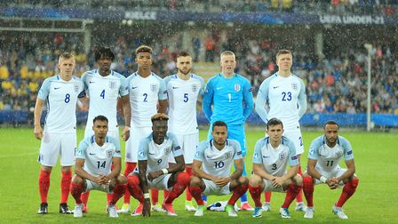 England pose for a team photo prior to the UEFA European Under-21 Championship, Group A match agains