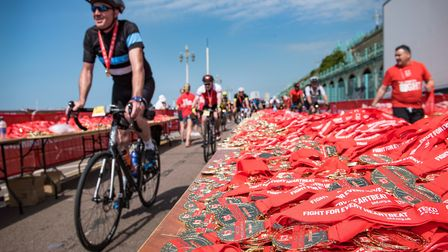 Cyclists taking part in the British Heart Foundation's 42nd London to Brighton Bike Ride, supported