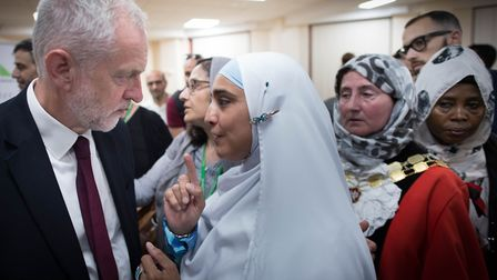 Labour leader Jeremy Corbyn during a visit to Finsbury Park Mosque in the wake of the terror attack