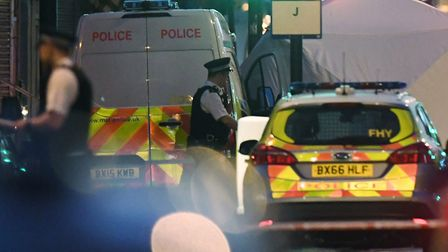 A police forensic tent erected at the scene in Finsbury Park, after a van collided with pedestrians