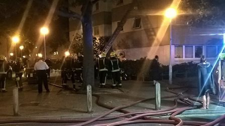 Firefighters at Hind House in Holloway. Picture: London Fire Brigade/Twitter