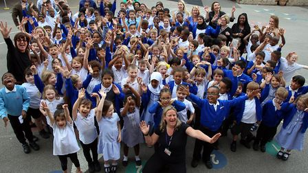 Ambler Primary School, led by headteacher Juliet Benis, celebrate its 'outstanding' Ofsted score tod