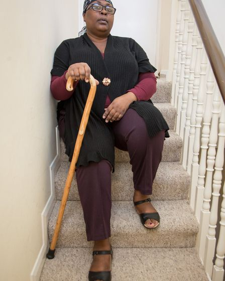 Disabled Olabisi Bakare must slide or crawl up and down stairs (Picture credit: Jonathan Goldberg)