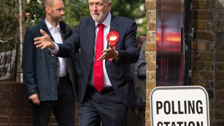 Jeremy Corbyn casts his vote at Pakeman Primary School, Holloway. Picture: Dominic Lipinski/PA