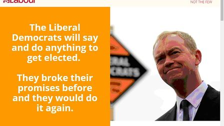 Islington dark adverts: This Facebook ad posted by Labour attacks the Liberal Democrats