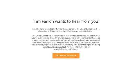 The Liberal Democrats used Facebook to encourage Islington voters to contact party leader Tim Farron