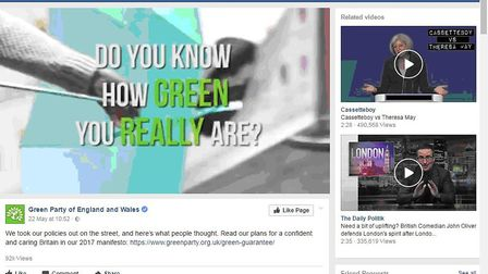 Dark ads: This Green video showed interviews with people questioned about the party's policies