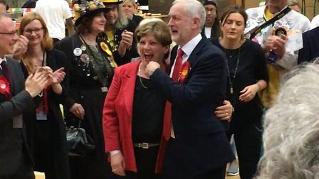 Jeremy Corbyn and Emily Thornberry were beaming with joy ahead of their own results. Picture: Sam Ge