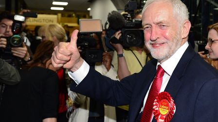 Labour leader Jeremy Corbyn arrives at the Sobell Leisure Centre in Islington, north London, where c