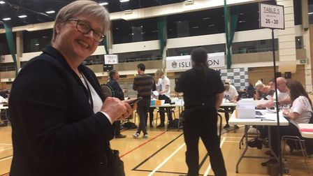 Islington North candidate Caroline Russell at the Sobell Leisure Centre count. Picture: Caroline Rus