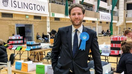 Islington South and Finsbury candidate Jason Charalambous at the Sobell Leisure Centre count. Pictur