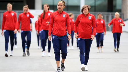 England Women's Alex Scott and Francesca Kirby during a day of media activity at Wembley Stadium ahe