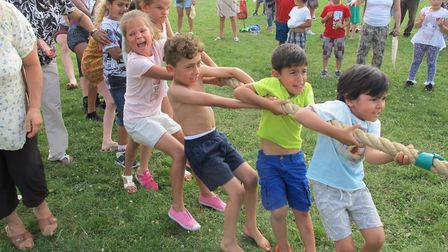 Tug of War at the The Great Gladstone Get Together in memory of Jo Cox MP