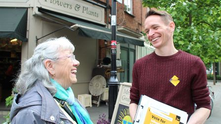 Islington North Liberal Democrat candidate on the campaign trail in Islington North. Picture: Keith