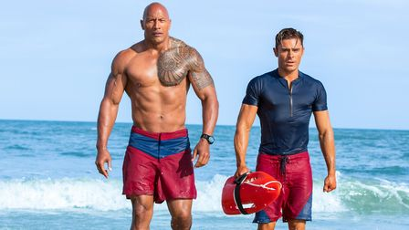 Baywatch starring Dwayne Johnson and Zac Efron. Picture: Frank Masi