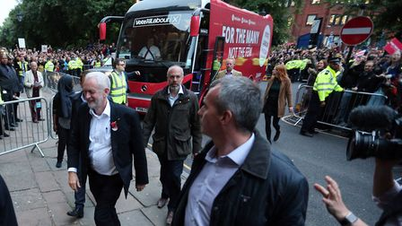 Hundreds watch Jeremy Corbyn arrive at the rally in Islington's Union Chapel. Picture: Jonathan Brad