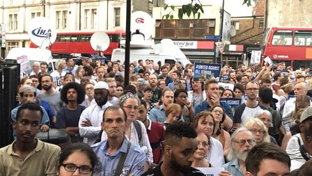 Hundreds attended the vigil outside Finsbury Park Mosque in the wake of the Muslim Welfare House ter