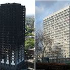Grenfell Tower, left, went up in flames on June 14, killing at least 79 people. Right, Braithwaite T