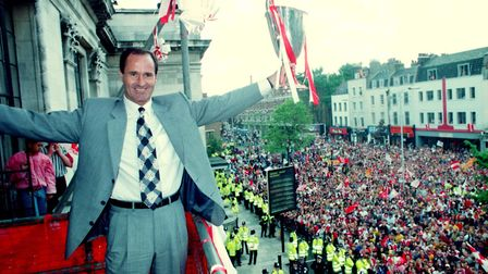 Arsenal manager George Graham celebrates at Islington Town Hall in 1994 after his team won the Europ