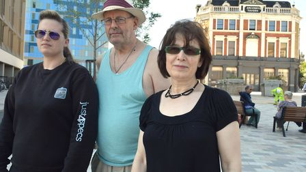Traders Emma Krestin of Just4Specs, Peter Cooney Second Chance charity shop volunteer and Yuksel Kar