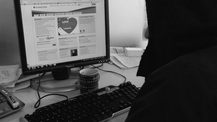 A model poses as a cyber hacker targeting Islington Council's website