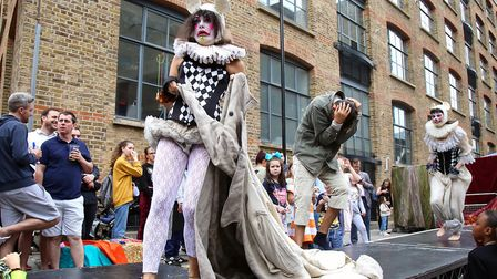 The Rags to Riches catwalk show addressing the 'crime of homelessness' theme at Whitecross Street Pa