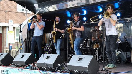 Dat Brass play the main stage at Whitecross Street Party on Saturday. Picture: Catherine Davison