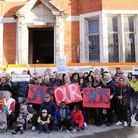 Neighbours protest the Sainsbury's plans for Blackstock Road in December. Picture: Dieter Perry