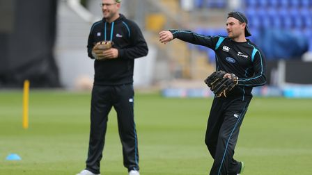 New Zealand's Brendon McCullum hit nine off 12 balls against Surrey. Pictured with Daniel Vettori (N