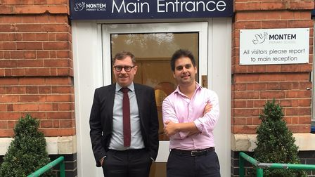 Outgoing headteacher Nicholas Tait and chair of governors Alain Desmier. Picture: Montem Primary Sch