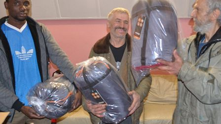 The New Roots Cafe is supporting homeles shelters with items like new sleeping bags.