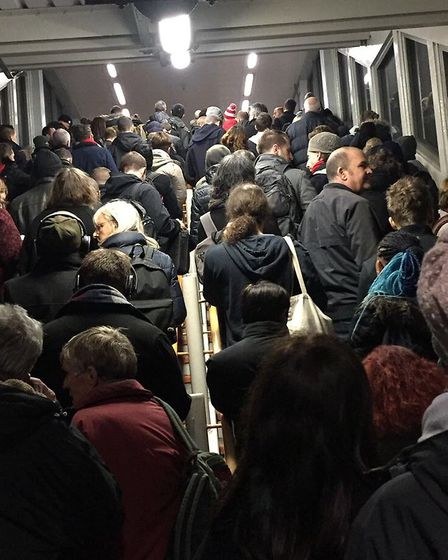 Overcrowding at Highbury and Islington station before an Arsenal game. Picture: Sam Gelder