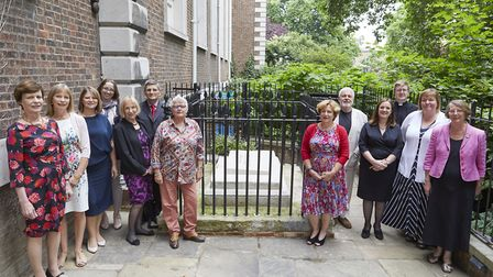 Trustees of Richard Cloudesley Charity by his grave in the St Mary's churchyard. Picture: Janie Aire