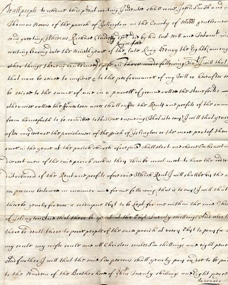 The earliest document in Richard Cloudesley Chariety's archive. Dated 1623, it is a lease of the two