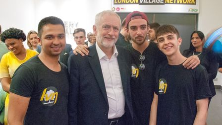 Labour party leader Jeremy Corbyn with City and Islington College students at the launch of the Lond