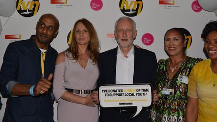 Basil Andrews, London Village Network founder Rachael Box, labour party leader Jeremy Corbyn, Isling