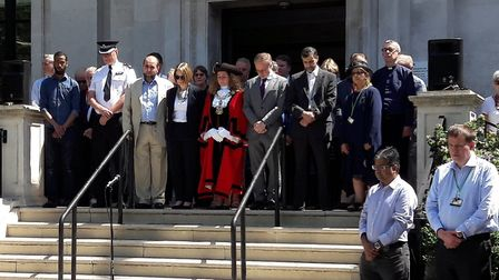 The goup on the steps of Islington Town Hall. Picture: ISLINGTON COUNCIL