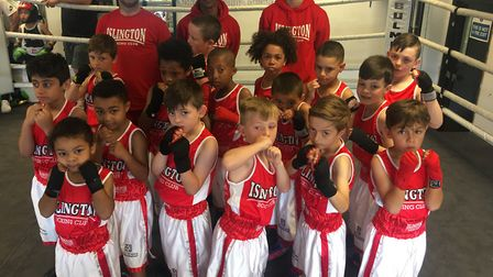 Islington Boxing Club youngsters face the camera (pic Reggie Hagland)