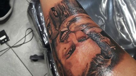 Rohit's tattoo of his hero Ramsey that he had inked in his honour