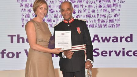 Gina Camputaro collecting the Queen's Award for Voluntary Service. Picture: The Parent House