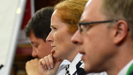 Catherine Roper sat on the panel at the Islington Safer Neighbourhood Board meeting. Picture: Polly