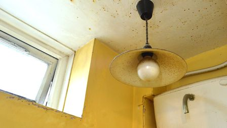 Damp and mould in the downstairs bathroom of Panayiota Christou's flat in the Earlstoke Estate. Pict