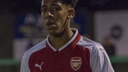 Dominic Thompson plays against Hitchin Town. Picture Peter Else