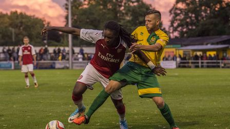 Taff Moore shields the ball at Top Field. Picture: Peter Else