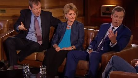 Alastair Campbell and Nigel Farage in a previous debate on Brexit (Image: RTE)