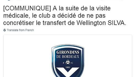 The tweet from Bordeaux's official account