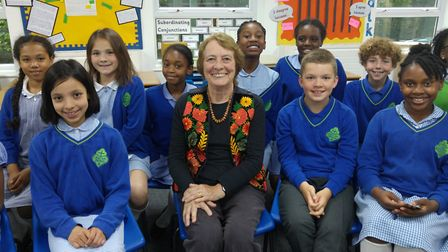 Author Gillian Cross with students from St Joseph's Primary School.